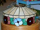 Vintage Slag Stained Glass Shade Flowers Hanging Ceiling Light Fixture Lamp