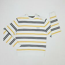 Rockport Striped Crew-Neck Jumper Large Slim Fit White/Yellow Logo Pullover Warm