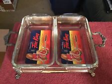 Vintage Anchor Hocking Fire King 2 Baking Dishs w/Silver Plated Server