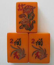 3 Vintage, Catalin Mahjong Flower Tiles, Works as Coronet Replacements Mahjongg