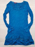 MONSOON A-Line Mini Dress Size 8 Blue Semi-Sheer Floral Detail Long Sleeve
