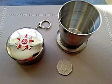 Soviet Military Stainless Steel Folding Cups with Soviet WW2 emblem on top 140ml