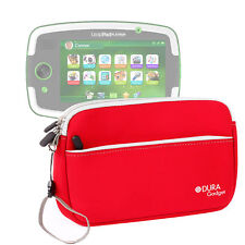 """Red Neoprene Zip Case For Leapfrog LeapPad Platinum 7"""" Tablet w/ Front Pocket"""