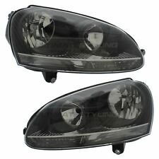 VW Golf MK5 GTi 2004-2009 Black Headlight Headlamp Pair Left & Right