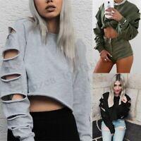 Women Long Sleeve Crop Tops Club Party Sweats Sweatshirt Jumper Pullover Plus