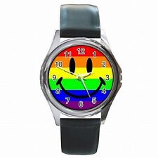 Rainbow Flag Smiley Gay and Lesbian Pride LGBT Leather Watch New!
