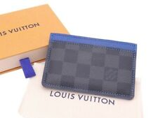 Auth Louis Vuitton Damier Graphite Card Holder Blue/Gray - e46561f