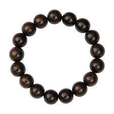 Large Dark Tamarind Wood Bracelet on Elastic Cord 8-inch