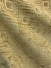Gold Geometric Chenille Upholstery Brocade Fabric (54 in.) Sold By The Yard