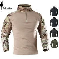 Military Mens Tactical T-Shirt Army Combat Shirt Casual Pullover T-Shirt Camo