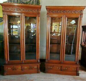 GREAT PAIR OF VICTORIAN RENAISSANCE - EASTLAKE WALNUT BOOKCASES
