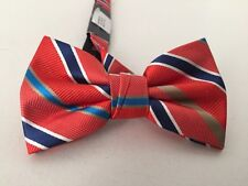 ROOSTER Adjustable Striped Pattern Bow Tie Orange Red And Blue