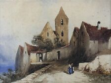 Ancienne aquarelle représentant un village animé signée proche Eugène CICÉRI