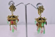 Antique Chinese Gold Gilt Silver Jade Pink Tourmaline Lantern Floral Earrings