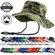 Unisex 100% Cotton Camo Bucket Hat Fishing Camping Safari Boonie Sun Summer