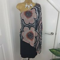 Joseph Ribkoff Dress Midi Stretch One Shoulder Bodycon Floral Black Size UK 12