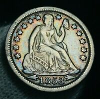 1853 Seated Liberty Dime 10c Arrows High Grade XF+ Toned US Silver Coin CC2323