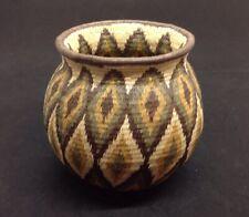 "Vintage WOUNAAN EMBERA Panama Native Indian Woven Basket Geometric Diamonds 5""T"