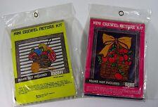 Vintage Crewel Embroidery Kit Lot Basket Of Apples & Sewing Basket New