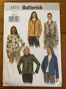 Uncut Butterick 3573 Sewing Pattern Misses' Jackets Sz 14-16-18