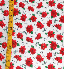 FABRIC - ESTATE SALE MUSICAL POINSETTIA COTTON CHRISTMAS FABRIC - 2.64 YARDS