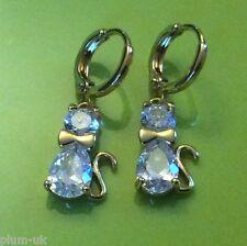 N12 Sim diamond kitten cat 18k gold gf hoop & drop dangle earrings Plum UK BOXD