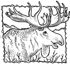 Unmounted Rubber Stamps, Alaska, Wildlife, Scenic, Lodge, Animals, Moose Frame 2
