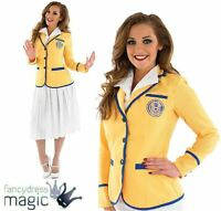 Ladies Holiday Camp Hostess Yellow Hi De Hi 50s 80s Fancy Dress Costume Outfit
