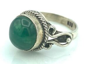 Silver Ring - 5,24 G - 925 - Ethnic - Chrysoprase