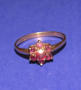 DAINTY SECONDHAND 9ct YELLOW GOLD RUBY DAISY CLUSTER RING SIZE L