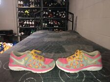 Nike Dual Fusion Run 2 Girls Youth Athletic Shoes Size 3.5Y Pink Orange Gray