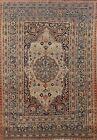 Pre-1900 Antique Vegetable Dye Tebriz Haj Jalili Area Rug Hand-knotted Wool 4x6
