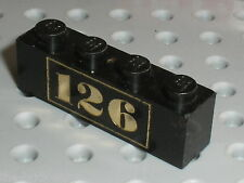 LEGO train Brick 1 x 4 with Gold 126 Text Pattern ref 3010px19 / Set 126