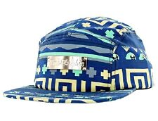 Pink Dolphin TRIBAL Blue Yellow Mint Gold Metal Plate Logo 5 Panel Men's Hat