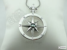 Pick A Pearl Cage Compass Rose Locket Silver Plated Charm Necklace Pirate Ocean