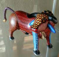 Redchester Alebrije Bull Genuine Oaxacan Wood Carving Mexican Folk Art
