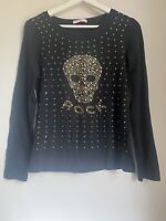 BLACK GOLD SKULL TOP L/XL 12 GLAM CLUB SUMMER HOLIDAY TOWIE PARTY CELEB BOHO FIT