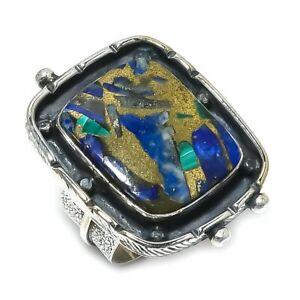 Copper Azurite Malachite Gemstone Handmade 925 Silver Jewelry Ring Size 9