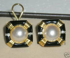 SOLID    18K  Gold   MABE   Pearl   Diamond   ONYX   Omega   Clip   Earrings