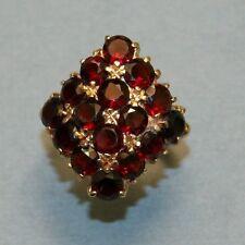 Retro  Modern Gold & Bohemian Garnet Cluster Ring , Superb!