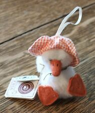 "Vintage Boyds Bears Lula Quackenwaddle Duck Ornament Gingham Hat 3 3/4"" Easte"