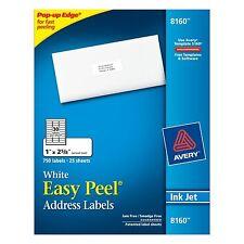 """NIB! 750 / Pack Avery 8160 White Inkjet Easy Peel Address Labels 1 """" X 2 5/8 """""""