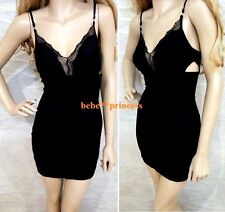 NWT bebe black straps lace v neck side cutout bustier top dress S small club