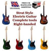 Glarry Strat-styled Electric Guitar Set Black Bag+Tool+Pick+Lead+Strap UK Stock