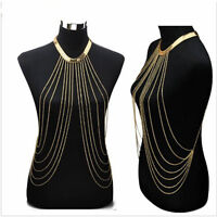 US Gorgeous Women's Hot Waist  Bikini Gold Tassel Chain Fancy Body Necklace