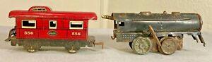 Vintage Antique Wind up Toy Train Engine & Caboose New York Central Line 556