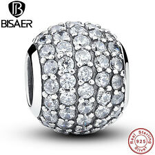 Authentic 925 Sterling Solid Pave BALL Charm Fit Original Clear CZ Chain Jewelry