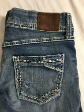 BKE Sabrina Jeans Size 27x31.5 Stretch Denim Medium Wash Heavy Stitch Distressed