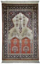 Antique rug / carpet Hereke hand knotted silk beige and red  (94 X 146 cm)