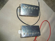 PAIR OF CHROME COVERED ELECTRIC GUITAR HUMBUCKER PICKUPS